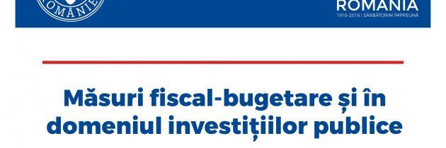 Măsuri fiscal-bugetare și în domeniul investițiilor publice 2019